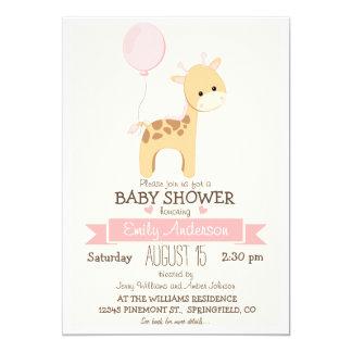 Cute Girl Giraffe, Jungle Zoo Animal Baby Shower 5x7 Paper Invitation Card