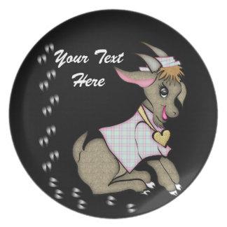 Cute Girl Goat Plate