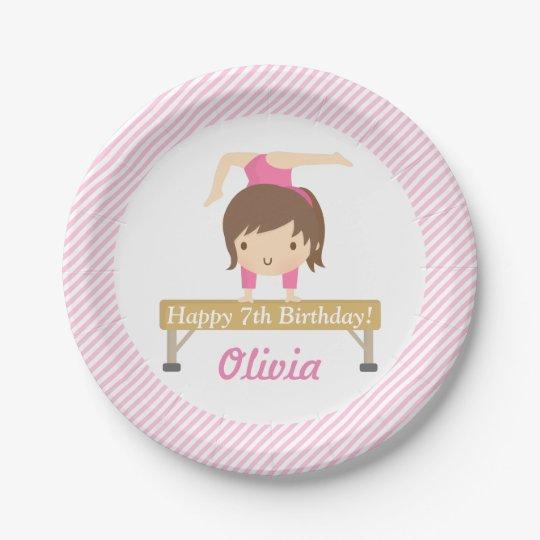 Cute Girl Gymnastics Kids Birthday Party Supplies Paper Plate