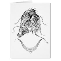 hearts,artsprojekt,hairstyle,fashion,hair,girl,stylist,illustration,minimalist,modern,female,hairdresser,young,teen,saloon,woman,beauty,design,black,white,morning,minimalism,women,naive,stylists,salon,hairstylist,beautician,hairstylists,occupations,dresser,spa,consultant,professional,barber,contemporary,love,gifts, Card with custom graphic design