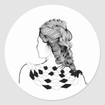 artsprojekt,hairstyle,fashion,hair,girl,female,teen,fiesta,stylist,hairdresser,saloon,woman,beauty,design,black,white,illustration,morning,home,minimalism,minimalist,young,women,naive,party,stylists,salon,hairstylist,beautician,hairstylists,occupations,dresser,spa,consultant,professional,barber,gifts, Sticker with custom graphic design