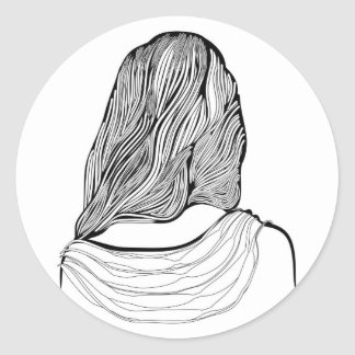 Cute Girl Hairstyle Classic Round Sticker