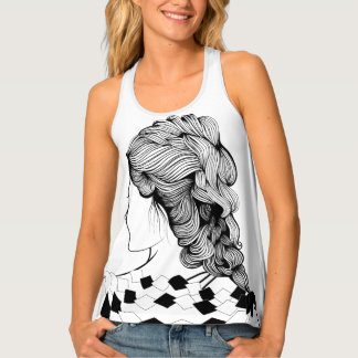 Cute Girl Hairstyle Tank Top