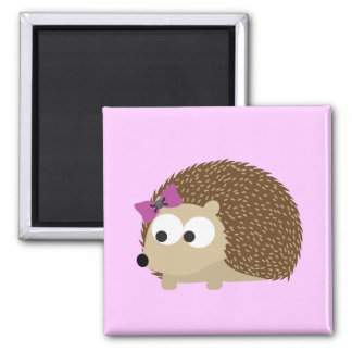 cute Girl hedgehog 2 Inch Square Magnet