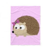 Cute Girl Hedgehog Fleece Blanket