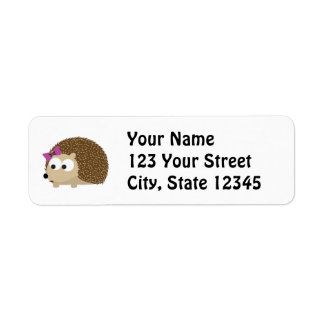 Cute Girl Hedgehog Label