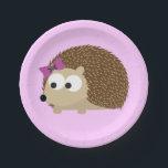 """Cute Girl Hedgehog Paper Plate<br><div class=""""desc"""">Cute Girl Hedgehog</div>"""