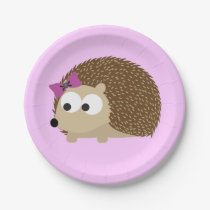 Cute Girl Hedgehog Paper Plate