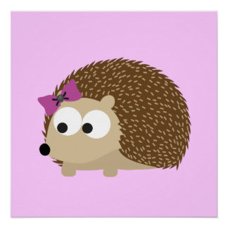 Cute Girl Hedgehog Poster
