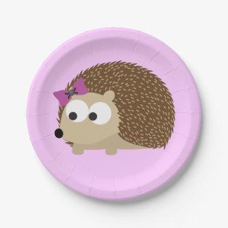 Cute Girl Hedgehog 7 Inch Paper Plate