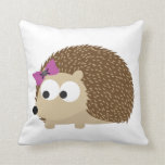 cute Girl hedgehog Throw Pillows