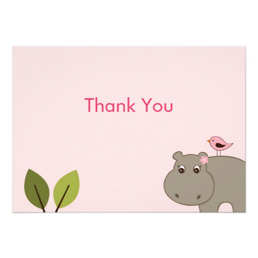 Cute Girl Hippo Flat Thank You Note Cards 5 Quot X 7
