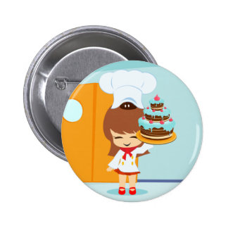 Cute Girl holding Chocolate Birthday Cake Pin