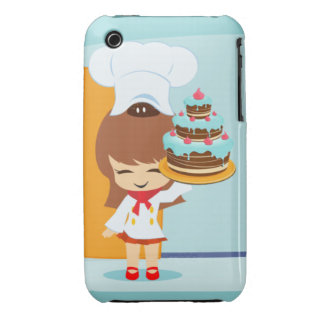 Cute Girl holding Chocolate Birthday Cake iPhone 3 Case-Mate Cases