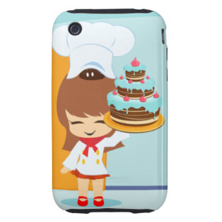 Cute Girl holding Chocolate Birthday Cake Tough iPhone 3 Covers