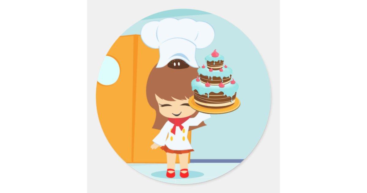 Brilliant Cute Girl Holding Chocolate Birthday Cake Classic Round Sticker Birthday Cards Printable Opercafe Filternl