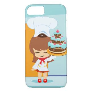 Cute Girl holding Chocolate Birthday Cake iPhone 7 Case