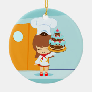 Cute Girl holding Chocolate Birthday Cake Double-Sided Ceramic Round Christmas Ornament