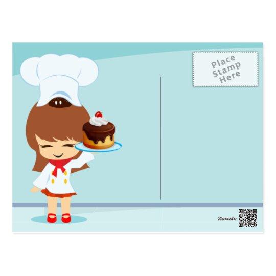 Cute Girl holding Chocolate Birthday Cake Postcard