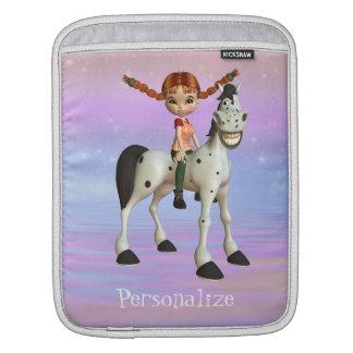 Cute Girl & Horse Personalized iPad Sleeve