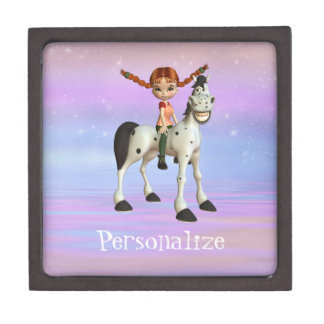 Cute Girl & Horse Personalized Trinket Box Premium Jewelry Box