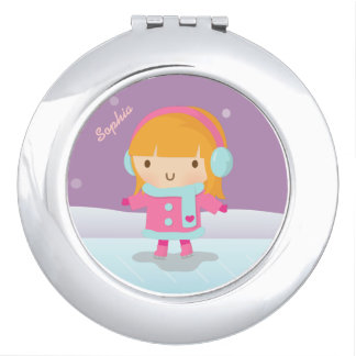 Cute Girl Ice Skater For Kids Compact Mirror