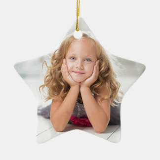 Cute Girl Image Double-Sided Star Ceramic Christmas Ornament