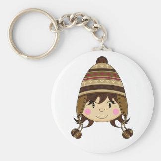 Cute Girl in Bobble Hat Keychain