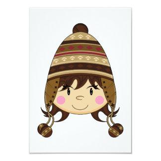 Cute Girl in Bobble Hat RSVP Card