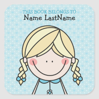 Cute Girl in Braids Ex Libris Square Sticker