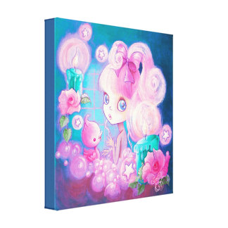 Cute Girl In Bubblebath With Candles Canvas Print