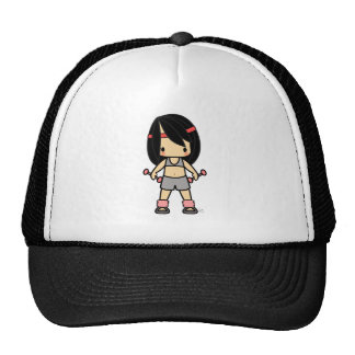 Cute girl in exercise gear trucker hat