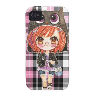 Cute girl in kawaii owl hoodie on pink plaid vibe iPhone 4 case