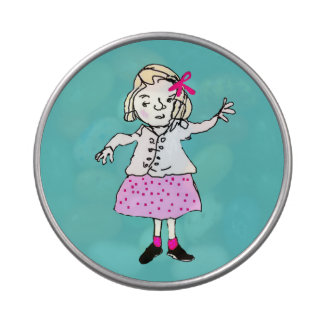 cute girl in pink dress jelly belly candy tins