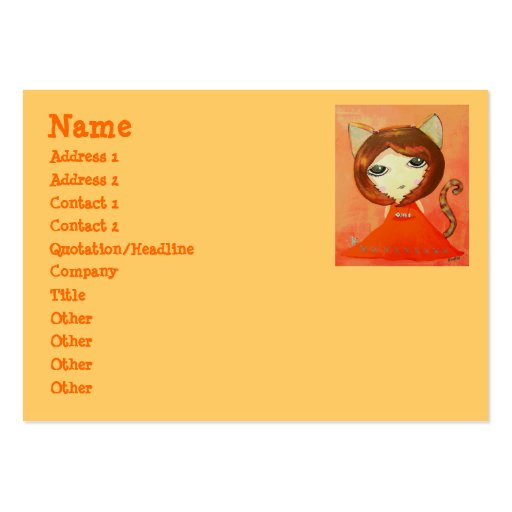 Cute Girl - In The Mood For Cat Large Business Cards (Pack Of 100)