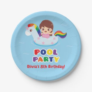Cute Girl in Unicorn Float Kids Party Supplies Paper Plate