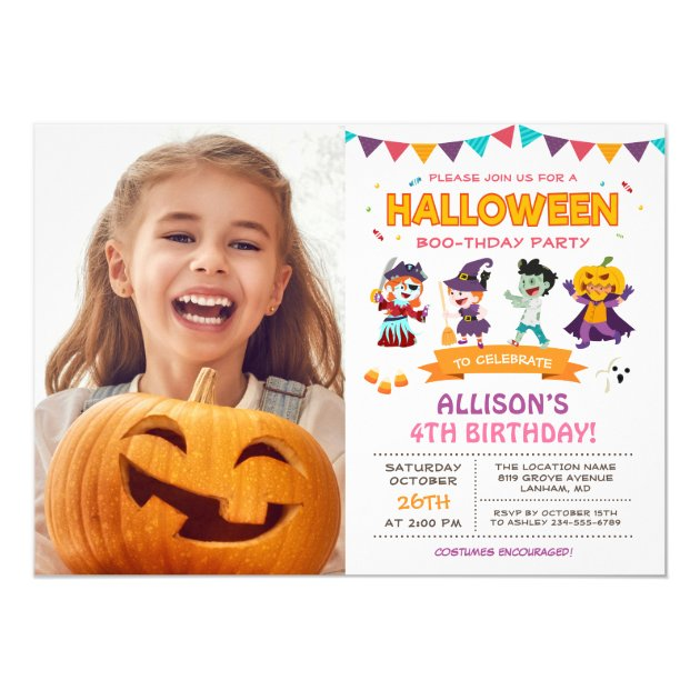 Cute Girl Kids Halloween Birthday Party Photo Card (back side)