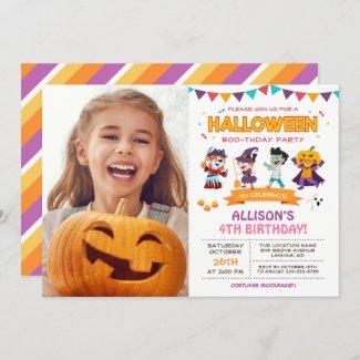 Cute Girl Kids Halloween Birthday Party Photo Invitation