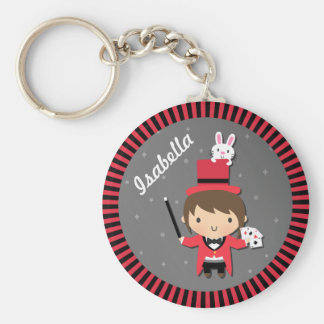 Cute Girl Magician and Bunny For Kids Basic Round Button Keychain
