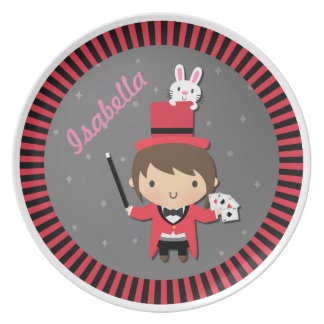 Cute Girl Magician and Bunny For Kids Melamine Plate