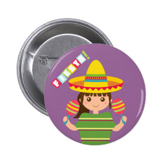Cute Girl Mexican Fiesta Maracas Button