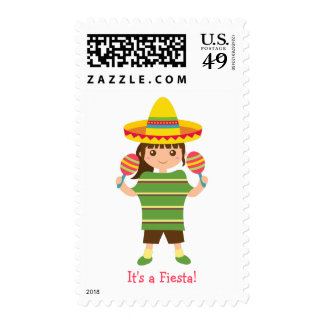 Cute Girl Mexican Fiesta Party Stamps