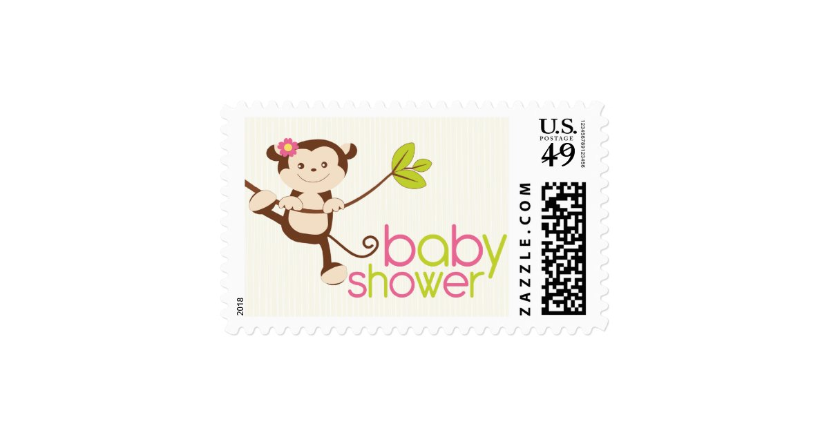 cute girl monkey baby shower thank you stamp zazzle