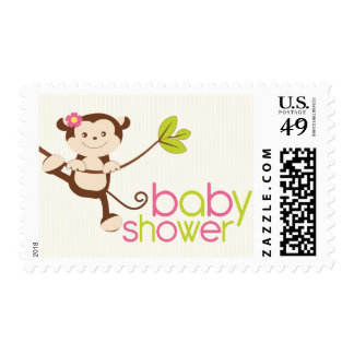 Cute Girl Monkey Baby Shower Thank You Stamp