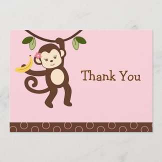 Cute Girl Monkey Jungle Flat Thank You Note Cards