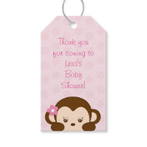 Cute Girl Monkey Party Favor Tags