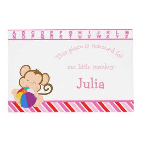 Cute Girl Monkey Placemat