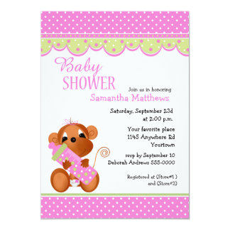 Cute Girl Monkey with Baby Bottle Shower Invitations