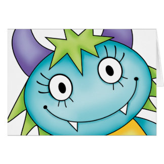cute girl monster greeting cards