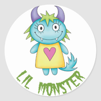 cute girl monster classic round sticker